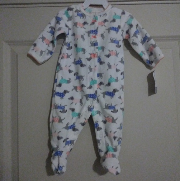 NWT CARTERS CHILD OF MINE PINK FLEECE ALL OVER LAMB PRINT BOW  SLEEPER